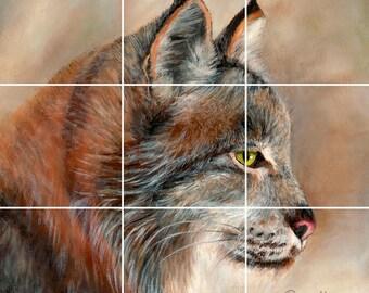 Bobcat Lynx Tile Mural Painting Back Splash Kitchen Home Decor Art