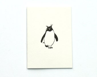 Penguin Card - Penguin Christmas Cards - Letterpress Note Cards - Christmas Note Cards - Rockhopper penguin - Blank Card - Holiday Cards