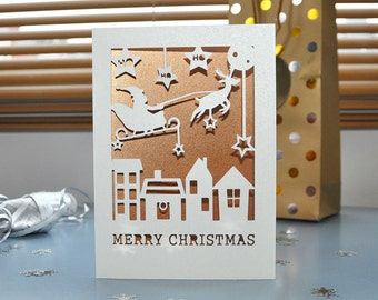 Christmas Card - Handmade Paper Cut - 5x7 Inches With Pearlescent Paper Inlay