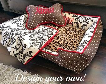 Leopard print Dog Bed | Dog Bedding | Animal print Dog Blanket | Washable Pet Bedding | Dog Bedding | Leopard Print | Dog Bedding Bundle
