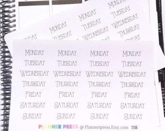 4 Weeks Weekday Day Tall Script Planning Reminder Stickers - Fits Erin Condren, KikkiK, Filofax Planners and Midori Notebooks 2106