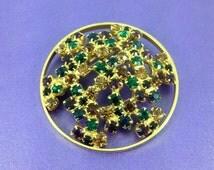 Vintage Gold Tone Brooch, Round Crystal Brooch, Multi Coloured Gems, Vintage Wedding, Bridal