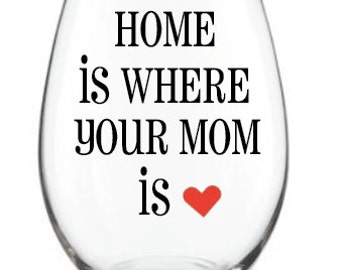 Home is where your mom is Wine Glass or Coffee Mug