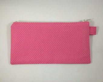 Zipper Pouch - Pink Polka Dot