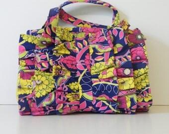 Purse, Handbag, Everyday Bag with Zipper and Ruffles