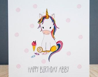 Personalised Unicorn Birthday Card - Personalised Handmade Unicorn Card - Unicorn Birthday Card - Personalised Unicorn Card