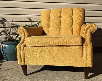 40s mid century modern tufted  Kroehler yellow Club lounge Chair yellow tufted retro Sofa 50s