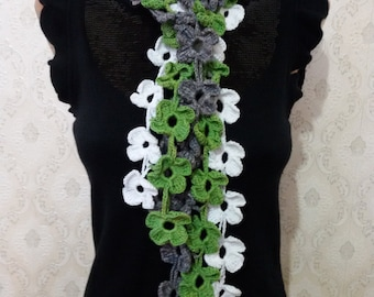 Lariat Green - gray - white lariat Flower daisy scarf Floral scarf Women Lariat scarf Neck accessories