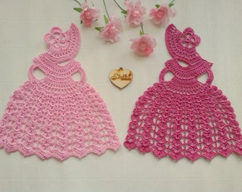 Crochet Crinoline Lady Doily lace Applique girl home decoration Mother day gift