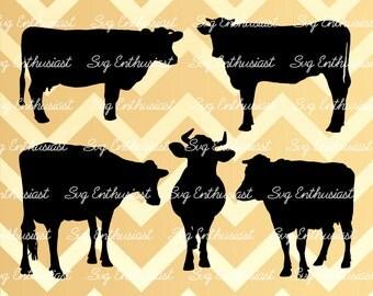 Cow silhouette Bundle SVG, Cow Svg, Cow Bundle SVG, Farm animals Svg, Cricut, Dxf, PNG, Vinyl, Eps, Cut Files, Clip Art, Vector
