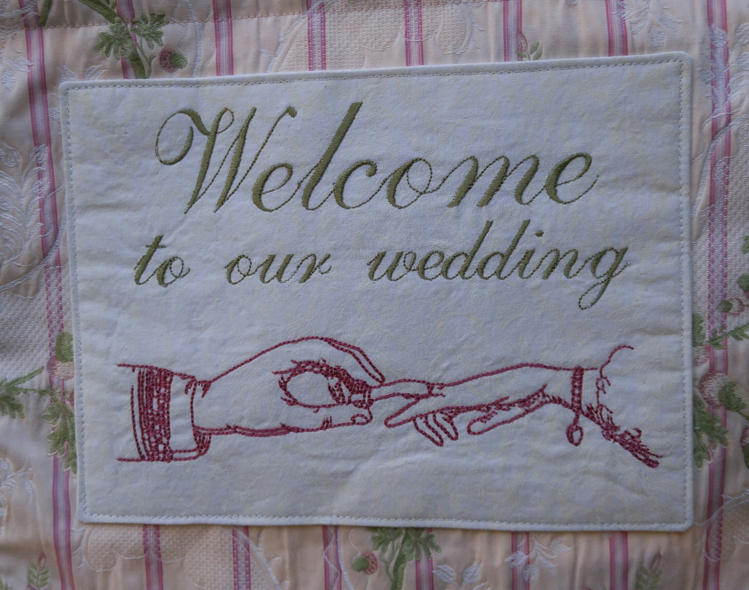 Wedding Welcome Sign, Wedding Decor, Floral Pink And Green, Wedding Garden  Flag,