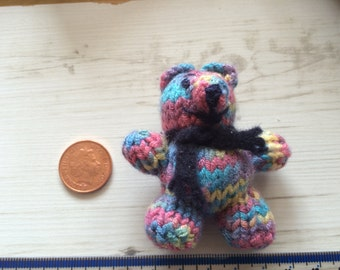 mini small rainbow colour bear - complete with felt scar fMiniature Tiny Hand knitted Sewn and Embellished