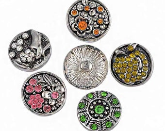 5PCs Rhinestone Mixed Snaps Ginger Buttons 18mm - Interchangeable Snap Jewelry