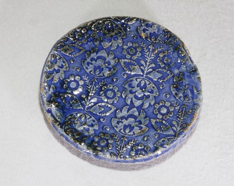 Small Blue Stoneware Plate/Trivet with Traditional Polish Flower Pattern