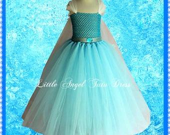 Frozen Elsa Inspired Tutu Dress. Handmade Princess Dress. Snowflake Cape. Girl's Princess Dress.Birthday Party Dress. Christmas Dress