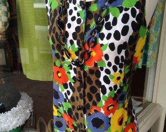 Bold Leopard and floral print 60's shift dress~ M/Lg