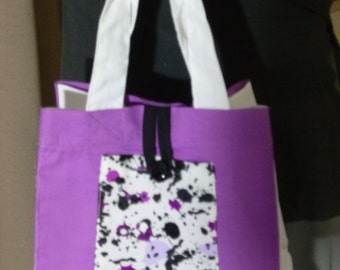 Childrens bag. Paint splatters. 20cm x 20cm. Sturdy cotton fabric. Front pocket. Just like Mum's. Washable. Also makes great lunch bag.