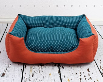 Dog bed, cat bed, petrol blue, rust red, dots, soft, pet, sleeping, pillow, dog, cat, cozy, turquoise, orange, shabby
