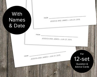 Custom with Names & Date for 12-set Wedding Question and Advice Cards - Printable Download