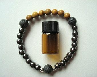 Essential Oil Bracelet, Wooden Jasper Healing Bracelet, Bracelet with Oil, Essential Oil Bracelet, Aromatherapy Bracelet, Hematite & Jasper