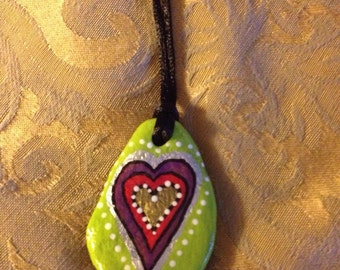 Valentine, Heart, Handpainted, Handpainted Rock, Necklace