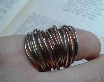 Multi band ring silver wedding rings and copper