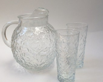 Anchor Hocking Milano Clear Glass Pitcher and Glasses, Textured Ball Pitcher & Glasses, Anchor Hocking Milano Ball Pitcher and Glasses