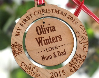 Personalised My First Christmas Wooden Acrylic Tree Decoration Round Bauble