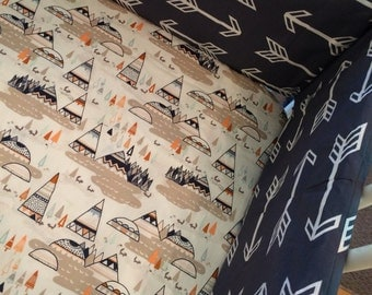 Teepees Fitted Crib Sheet | Nursery Bedding Crib Bedding Baby Boy Bedding Woodland Aztec Tribal Fitted Sheet orange navy Indian Summer