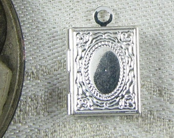 Set of (4) Silver Hinged Locket Charms, 4 per package  LOV012