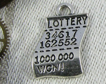 Set of (10) Silver Lottery Ticket Charms 10 per package  SYM015