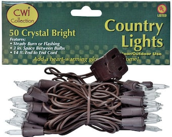 Country Lights 50 Crystal Bright Bulbs  Brown Cord Indoor/Outdoor Use