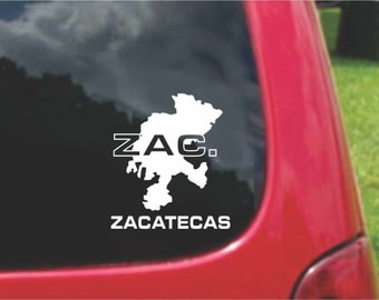 2 Pieces Zacatecas Mexico Outline Map  Stickers Decals 20 Colors To Choose From.  U.S.A Free Shipping