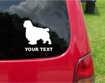 Set (2 Pieces)   Clumber Spaniel  Dog  Sticker Decals with custom text 20 Colors To Choose From.  U.S.A Free Shipping