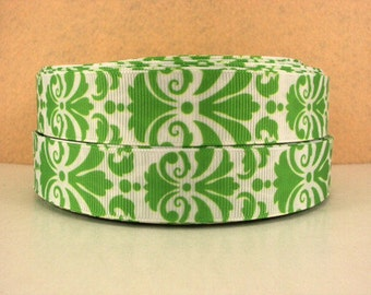 7/8 inch BOLD DAMASK - LIME Green on White - Filigree - Printed Grosgrain Ribbon for Hair Bow