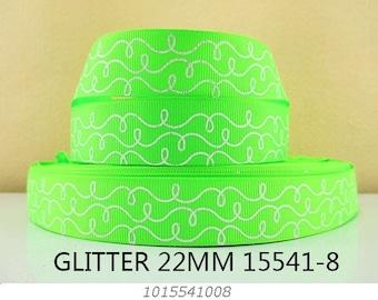 7/8 inch White Glitter Doodle Swirls on Lime Green -  Printed Grosgrain Ribbon 15541-8 for Hair Bow