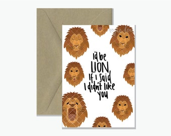 I'd Be Lion Animal Pun Card | Valentine's Day Greeting Card
