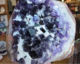 Amethyst Crystal with Polished Edges and white quartz.