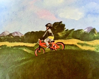 """Giclee Art print of original oil painting """"Boy on a bicycle"""""""