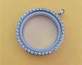 30mm Silver floating locket, Silver Floating Lockets, Memory Locket, Silver Lockets - AS100S