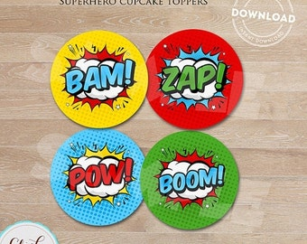 50% OFF SALE Superhero Cupcake toppers, Super hero, Superheroes, Cupcake decorations, Birthday party decorations, Party supplies, INSTANT Do
