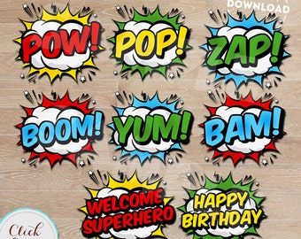 Superhero Burst Party Decorations, Superhero Pop Art, Bubbles, Party Supplies, Birthday party decorations Printables INSTANT DOWNLOAD