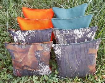 Camo Cornhole Bags (full set 8 bags) filled with clean whole corn - 12 month Guarantee!