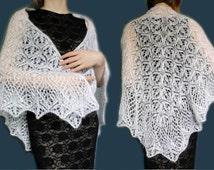 Wedding shawl, wedding cape, wedding accessory, shawl white, shawl mohair, white scarf, knitted scarf, shawl handmade, delicate shawl.