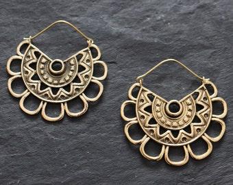 Brass hoop Earrings, tribal earrings, Boho Earrings, gold hoops, Gypsy Earrings