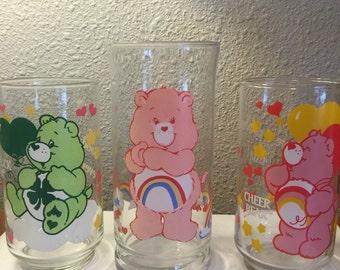 Set of 3 80's Care Bear Drinking glasses