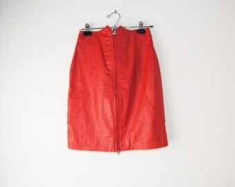 80s Two Way Zipper Red Leather Skirt