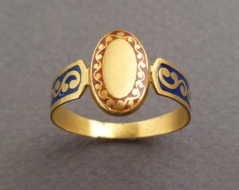 20 k gold enamel ring size 9