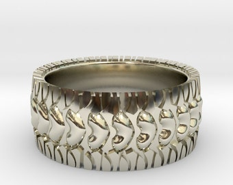 Tire Tread Ring Street Love Wedding Band Jewelry Car