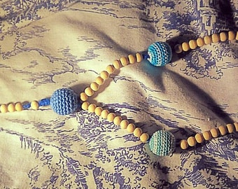 Catholic rosary for children made with crocheted and wooden beads